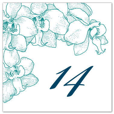 square orchid theme table numbers