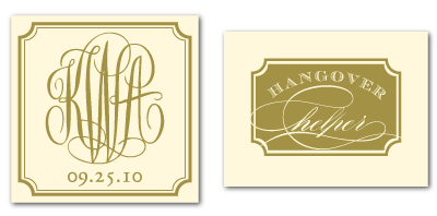 custom calligraphy monogram label hangover kit tag