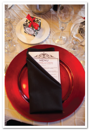 bliss wedding reception menu card red black