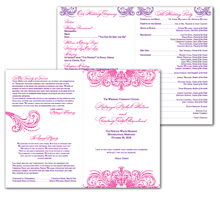 custom elegant flourish ceremony program design style