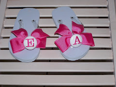 Pink and White Mon. Flip Flops