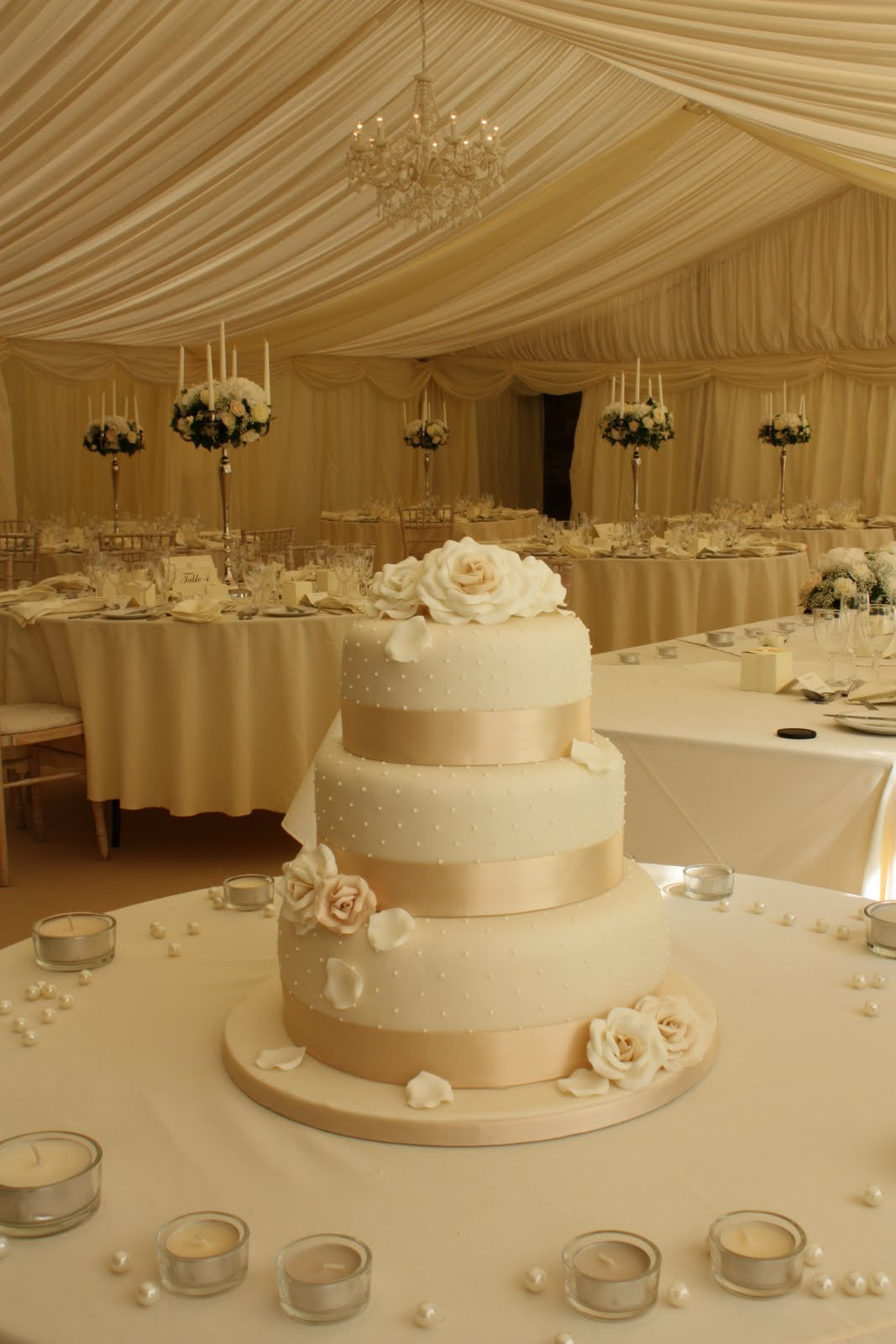 Tiers & Tiaras: Allt-yr-ynys Roses and Dots Wedding Cake