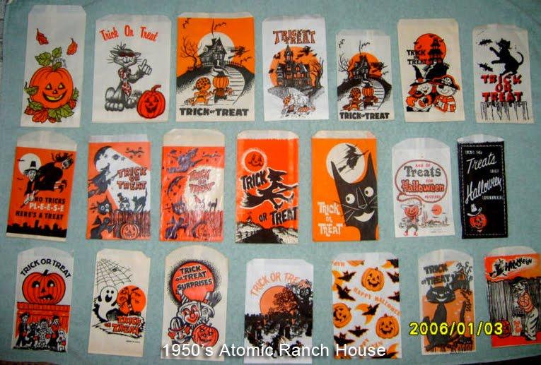 Vintage 1950s Mid Century Halloween Trick Or Treat Bags