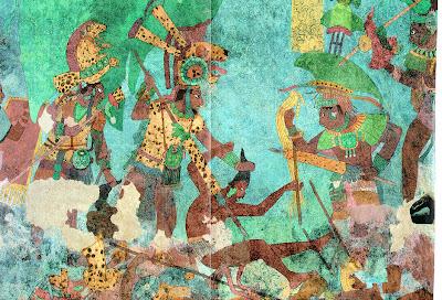 Aztec Wall Painting http://haleysgreenplanet.blogspot.com/2008/02/quetzal-sacred-bird-of-maya.html