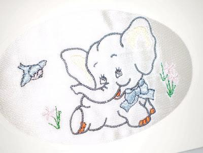 Hímzett elefántos képeslap