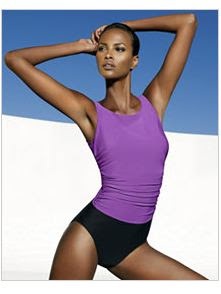 colorblock long torso swimsuit
