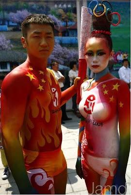 peinture corps jeux olympiques pekin