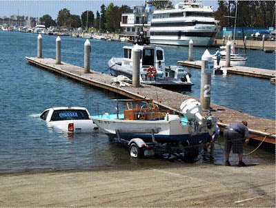 Obama supporter launching boat