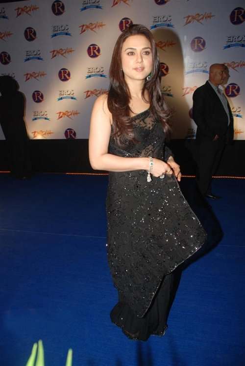 Preity Zinta gorgeous in Black Saree