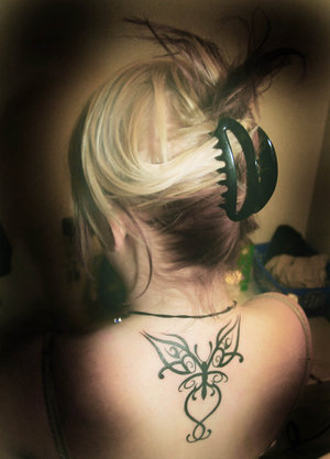 Nice Neck Tattoo Ideas With Butterfly Tattoo Design for Female