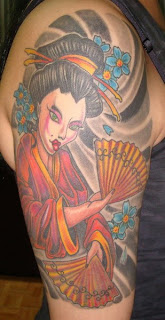 Amazing Female Shoulder Tattoo With Japanese geisha Tattoo Design Picture 3