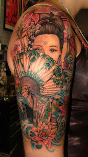 Amazing Female Shoulder Tattoo With Japanese geisha Tattoo Design Picture 2