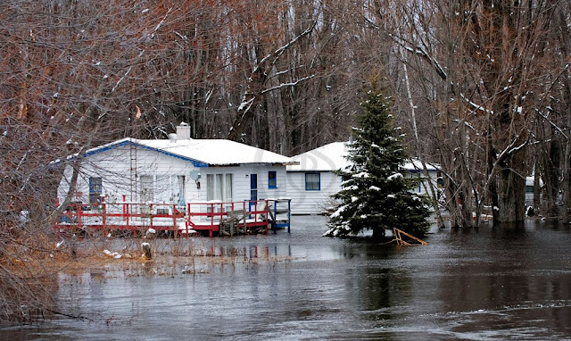 a small home surrounded by flooded fields on the outskirts of Orillia