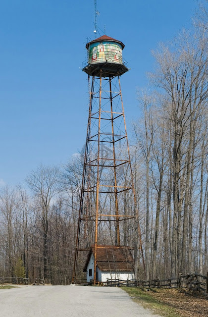 the water tower at Heidis campground painted with an image of Heidi and the alps