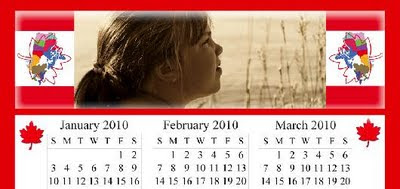 2010 Calendar Template - True North Canadian design, Set D, ©J. Gracey Stinson