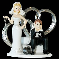 bride and groom with ball a chain, heart and key, cake topper, copyright J. Gracey Stinson, all rights reserved