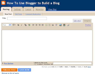 blogger blog editor page