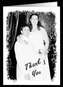 thank you photo card with a photo of the bride and groom