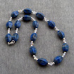 Necklace Chunky Lapis Lazuli with Swarovski Crystals Sterling Silver