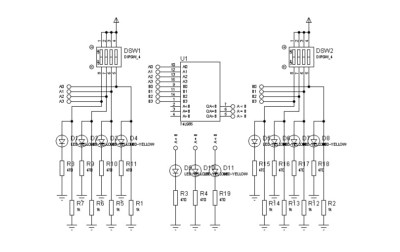 circuit desolator  simple magnitude comparator  7485 ic