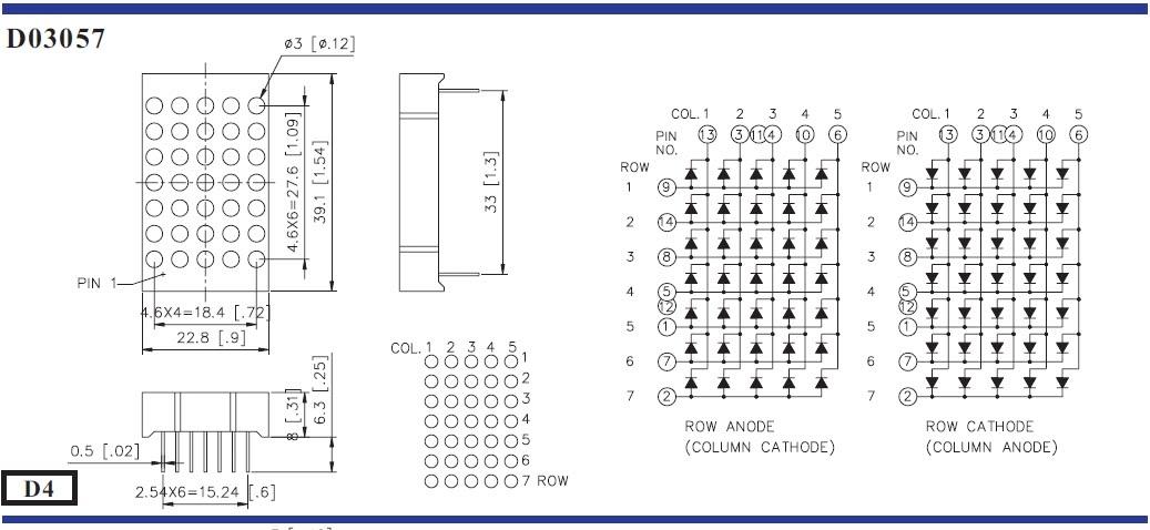 Circuit Desolator LED Dot Matrix Pin Configuration Pinouts