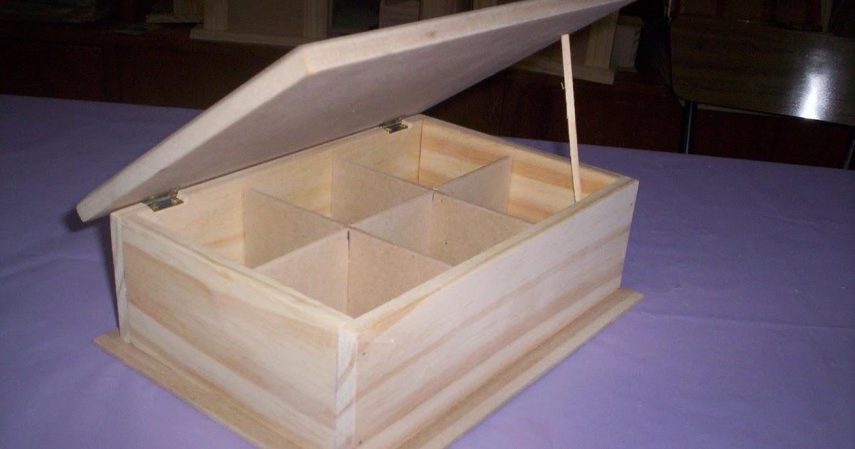Artesanias madecris cajas de te madera con 6 for Bisagras para muebles de madera