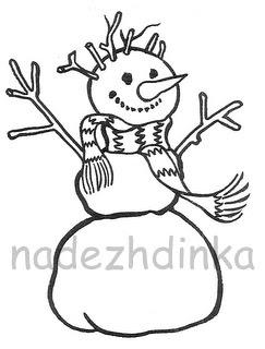 штамп для скрапбукинга:снеговик с поднятыми руками
