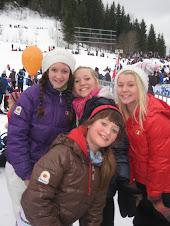 Malin, Celine, Lotte og meg på Barnas Skidag-2010 i Granåsen Skianlegg