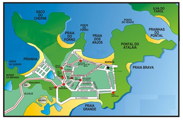 Mapa de Arraial do Cabo