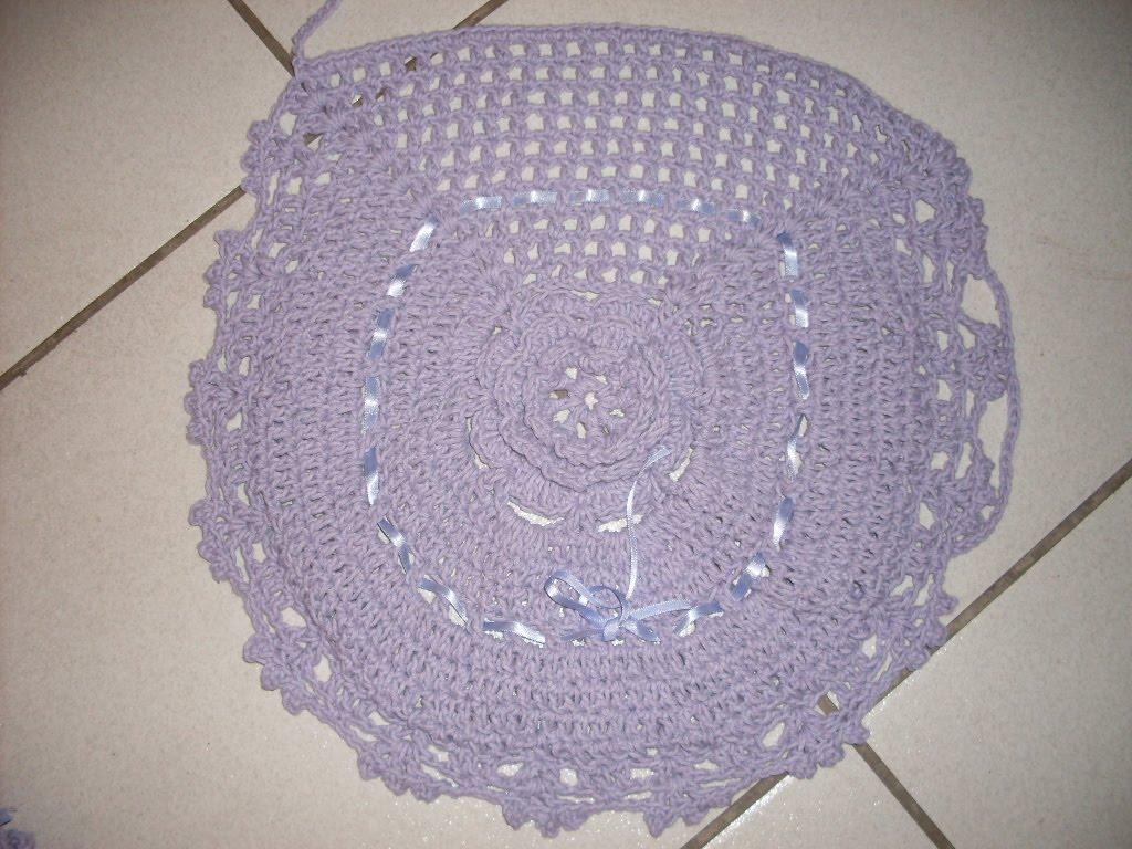 Jogo de banheiro de crochê - flor modelo - lilás