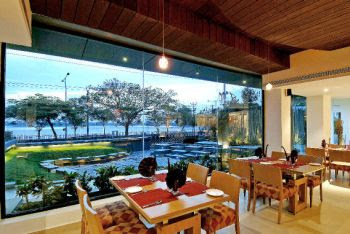Moksha Restaurant with a view of Hussainsagar Lake, Hyderabad
