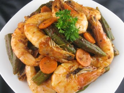 Fry Okra with shrimps