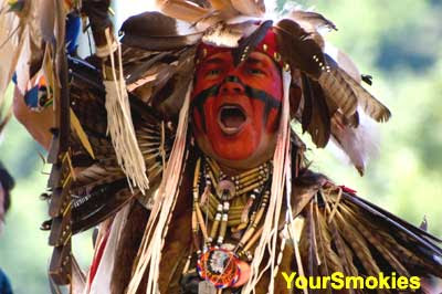 Native American Pow Wow taking place in Cherokee North Carolina
