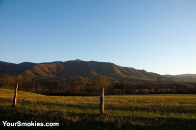 Cades Cove Loop Road in the Great Smoky Mountains national park at dusk