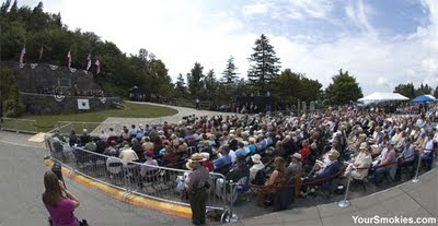 Almost 2,000 people attended the Dedication at the Roosevelt Monument in the Newfound Gap parking area of the Great Smoky Mountains national park
