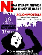 Muestra de afiche que usamos para las acciones de los 19, día que activamos como: NO MAS FEMICIDIOS