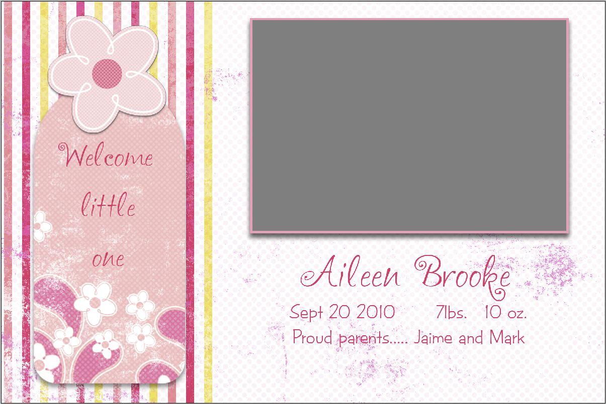 girl birth announcement template kleo beachfix co