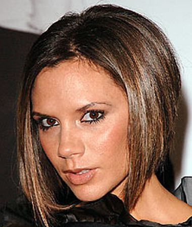 a line bob hairstyle pictures. victoria beckham inverted ob