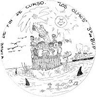 Pegatina del viaje a Mallorca de la primera promoción del colegio Los Olmos