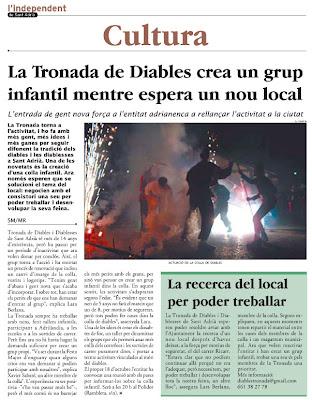 Pàgina publicada a L'independent, click per ampliar