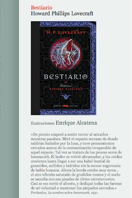 Bestiario de Lovecraft ilustrado por Enrique Alcatena
