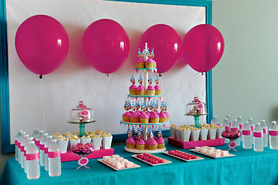 dessert table for one in a flash party  pink and aqua kids parties childrens parties birthday and bridal shower ideas  htttp://www.frostedevents.com DC MD VA
