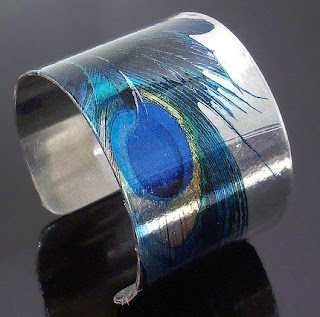 Silver Peacock Feather Cuff