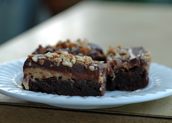 Peanut Butter and Fudge Brownies with Salted Peanuts | Cafe Johnsonia