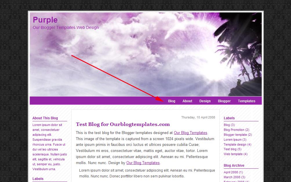 our blogger templates menubar for easy navigation