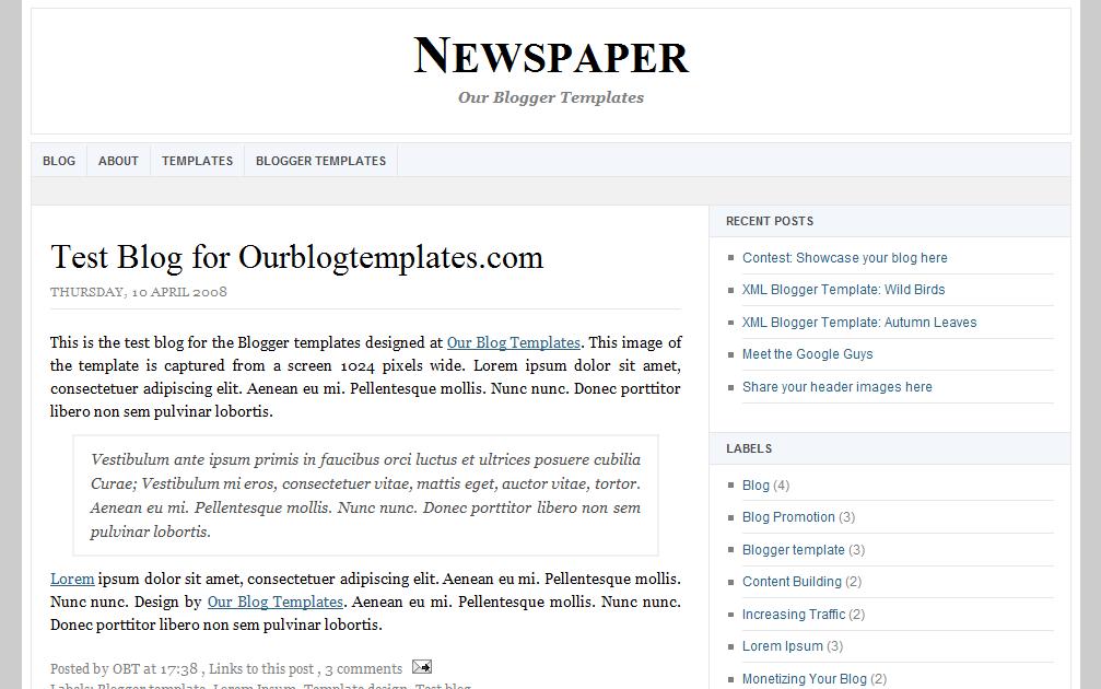 Our Blogger Templates: XML Blogger Templates: Newspaper