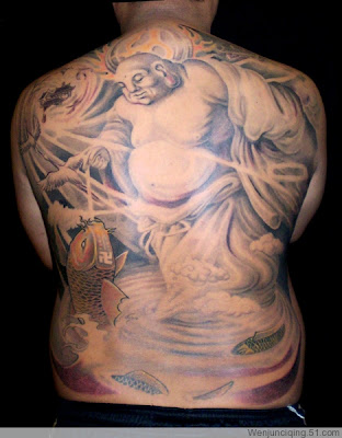 A full back tattoo showing Buddha feeding a KOI fish.