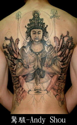 1000-hand buddha tattoo design on the back