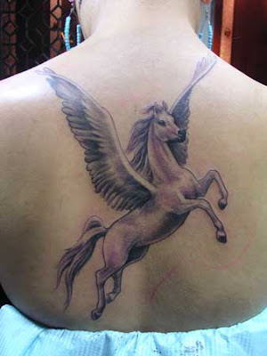free tattoo design on Free Tattoo Designs : Pegasus tattoo design on the back