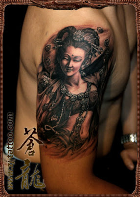 an Asian style portrait tattoo on the arm